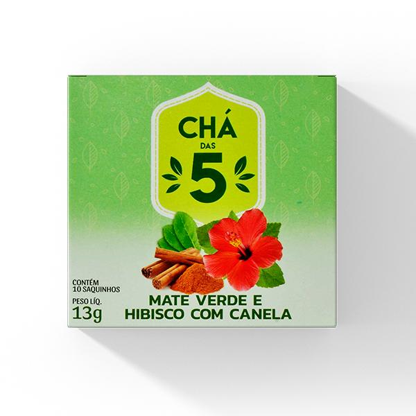Chá Mate verde e hibisco com canela